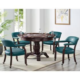Tournament 6 Piece Dining/Game Table Set - Teal Chairs (Dining Table, Brown Game Top, & 4 Captain's Chairs)
