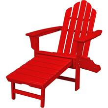 Hanover All-Weather Contoured Adirondack Chair with Hideaway Ottoman- Sunset Red, HVLNA15SR