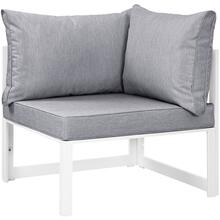 Fortuna Corner Outdoor Patio Armchair in White Gray