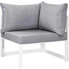 Fortuna Corner Outdoor Patio Armchair in White Gray