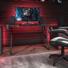 See Details - Black Gaming Ergonomic Desk with Cup Holder and Headphone Hook