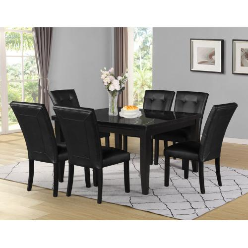 Gallery - Markina 54 inch Square Black Marble Top Dining Table