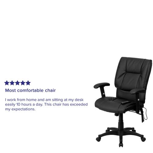 Gallery - Mid-Back Ergonomic Massaging Black LeatherSoft Executive Swivel Office Chair with Adjustable Arms