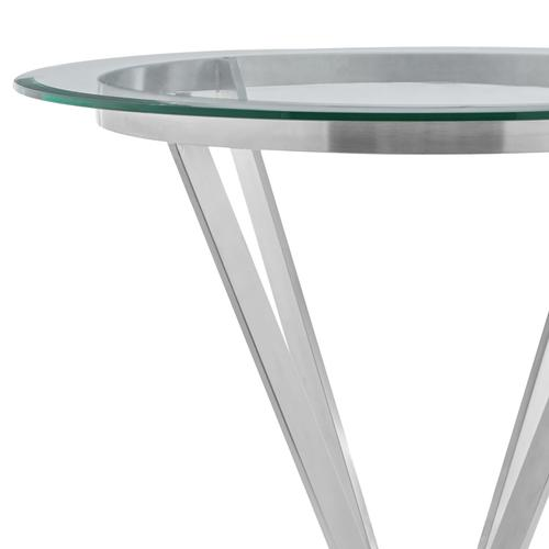 Naomi Round Glass and Brushed Stainless Steel Dining Table