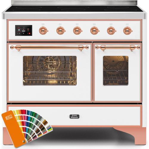 Ilve - Majestic II 40 Inch Electric Freestanding Range in Custom RAL Color with Copper Trim
