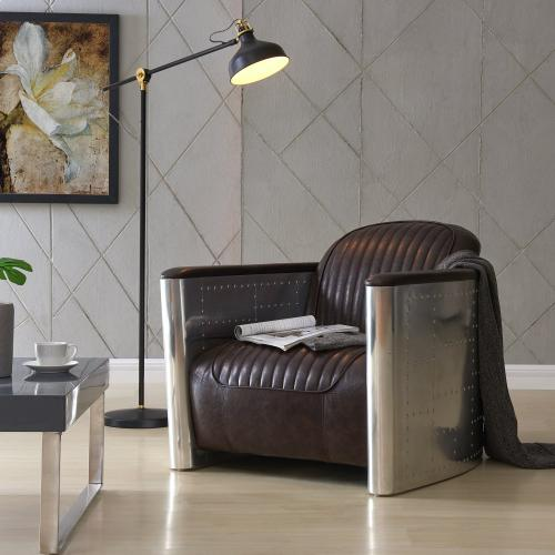 Product Image - Easton PU Accent Arm Chair Aluminium Frame, Distressed Java