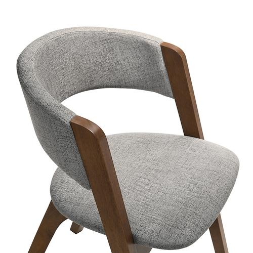 Rowan Grey Upholstered Dining Chairs in Walnut Finish - Set of 2