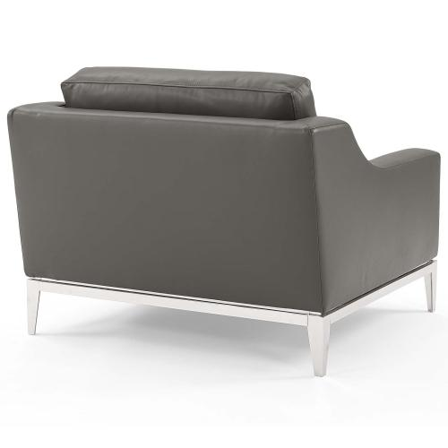 Harness Stainless Steel Base Leather Sofa & Armchair Set in Gray