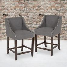 "Carmel Series 24"" High Transitional Walnut Counter Height Stool with Nail Trim in Dark Gray Fabric, Set of 2"