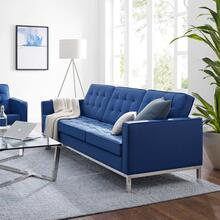 Loft Tufted Upholstered Faux Leather Sofa in Silver Navy