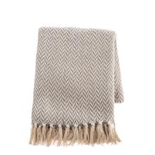 See Details - Grey & Natural Herringbone Woven Throw