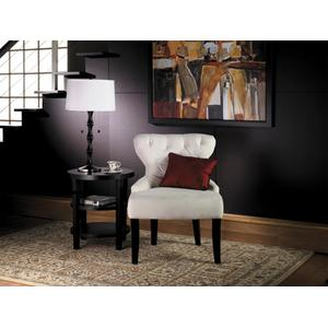 Curves Hour Glass Accent Chair In Oyster Velvet Fabric With Espresso Legs
