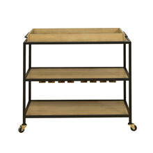 Light Oak & Iron Bar Cart