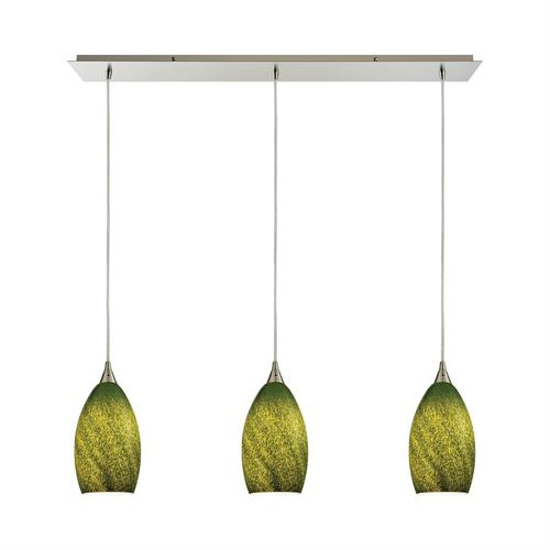 Earth 3-Light Linear Mini Pendant Fixture in Satin Nickel with Sunlit Grass Green Glass