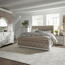 Queen Uph Sleigh Bed, Dresser & Mirror, Chest, Night Stand