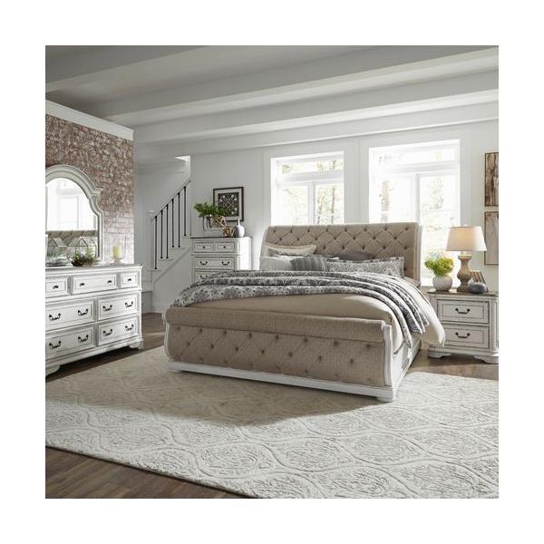 See Details - Queen Uph Sleigh Bed, Dresser & Mirror, Chest, Night Stand