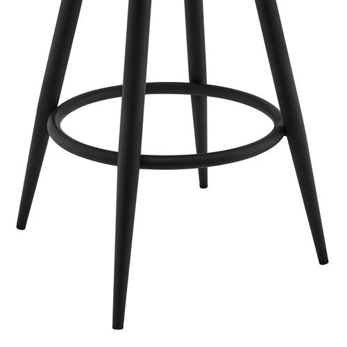 "Gabriele 26"" Gray Faux Leather and Black Metal Swivel Bar Stool"