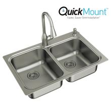 """See Details - Kelsa Faucet & Sink Combination - 33""""x22"""" 18 gauge stainless steel double bowl"""