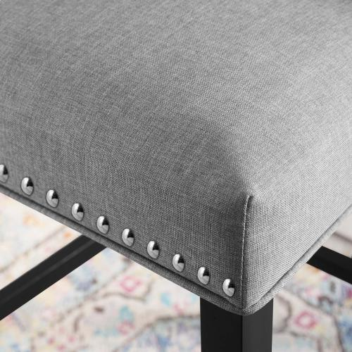 Baron Upholstered Fabric Bar Stool in Light Gray