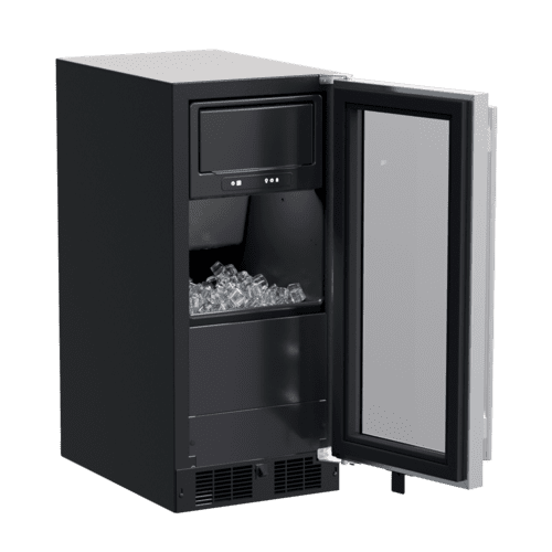 15-In Built-In Clear Ice Machine With Factory-Installed Pump with Door Style - Stainless Steel Frame Glass