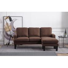8163 BROWN Fabric Basic Sectional Sofa