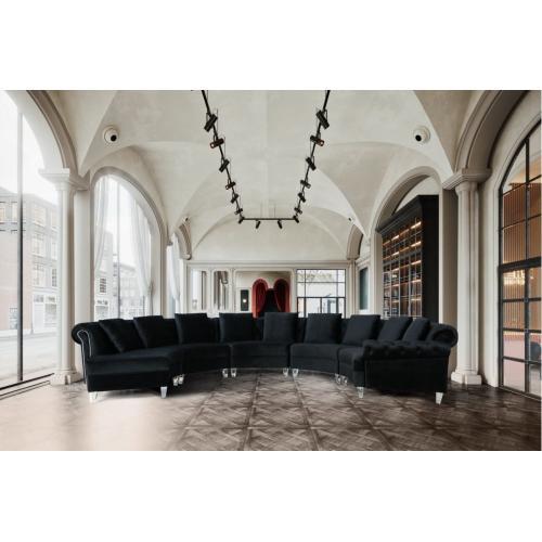 Divani Casa Darla Modern Black Velvet Circular Sectional Sofa