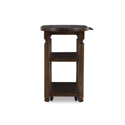 2-shelf and Hidden Lock Casters Kitchen Cart, Chestnut