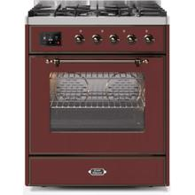 Majestic II 30 Inch Dual Fuel Natural Gas Freestanding Range in Burgundy with Bronze Trim