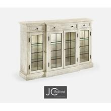 White Wash Driftwood Four Door China Display Cabinet