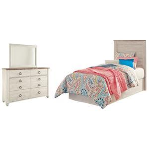 Ashley - Twin Panel Headboard With Mirrored Dresser