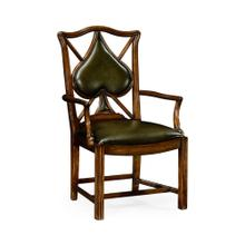 "Playing Card ""Spade"" Arm Chair with Medium English Library Green Leather"