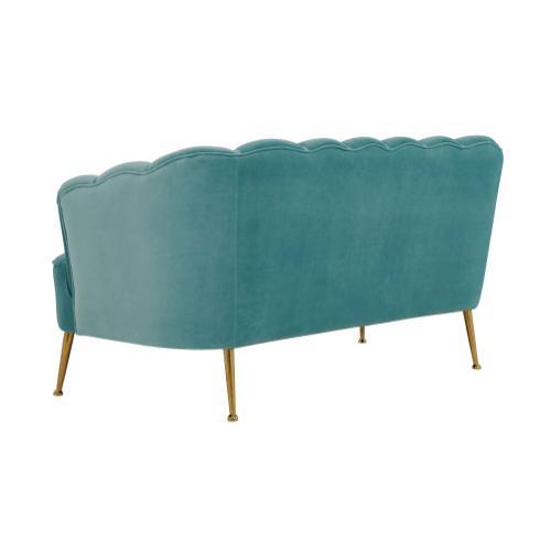 Tov Furniture - Daisy Petitie Sea Blue Velvet Settee