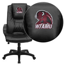 West Texas A&M University Buffaloes Embroidered Black Leather Executive Office Chair