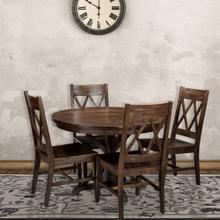 View Product - Hanover Annecy 5-Piece Mango Wood Dining Set: 45-In. Round Table with Trestle Base and 4 Chairs, HDR005-5PC-WB
