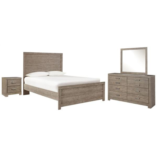 See Details - Full Panel Bed With Mirrored Dresser and 2 Nightstands