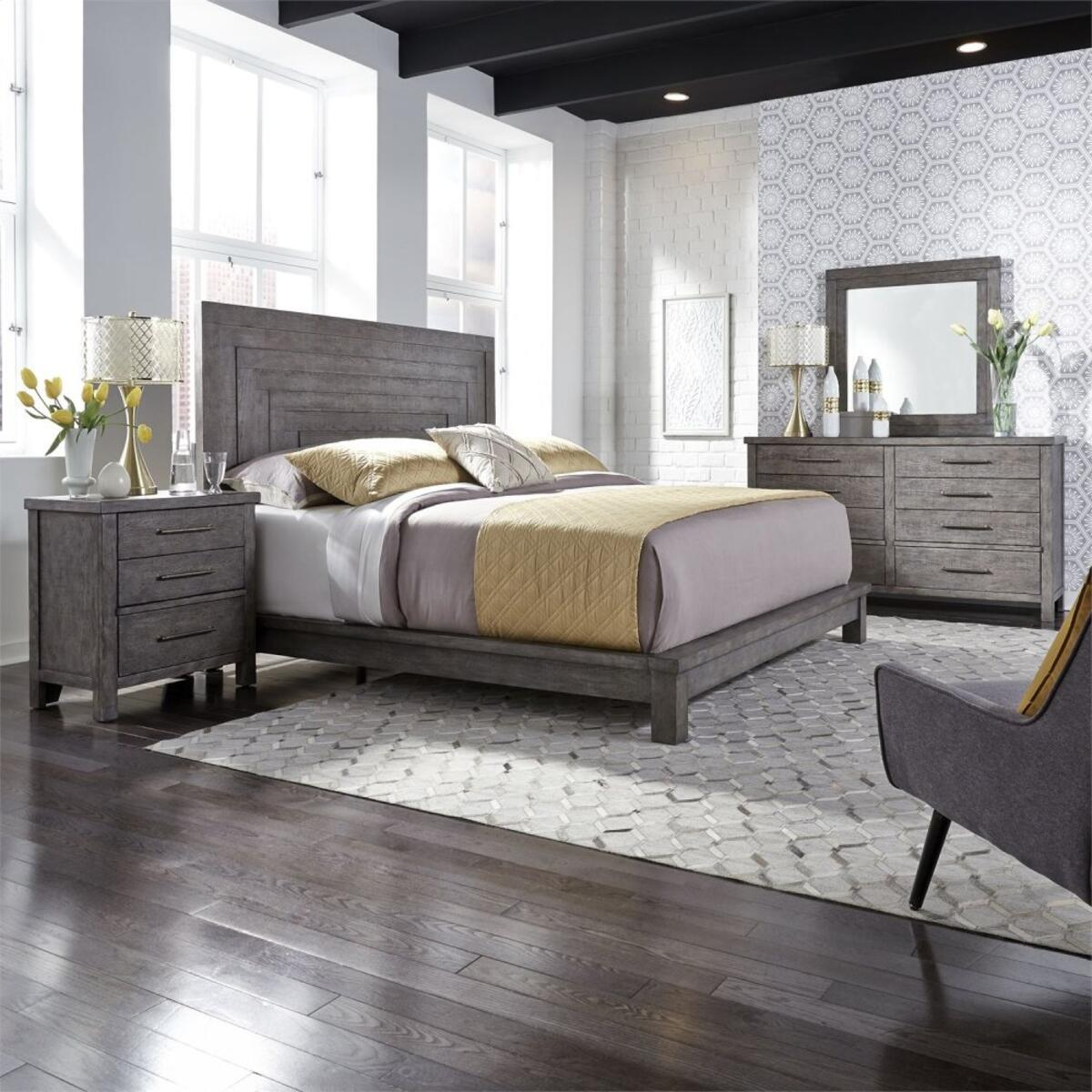King Platform Bed, Dresser & Mirror, Night Stand