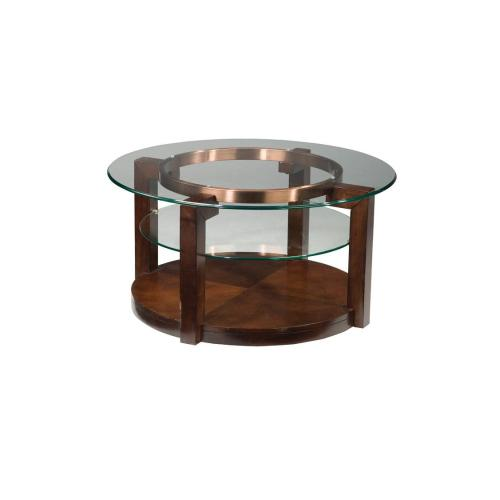 Coronado Round Cocktail Table with Casters, Brown