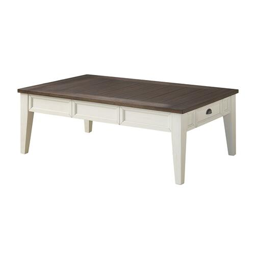 Cayla Cocktail Table, Dark Oak/White