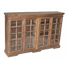 Pine 4-Door Narrow Bookcase