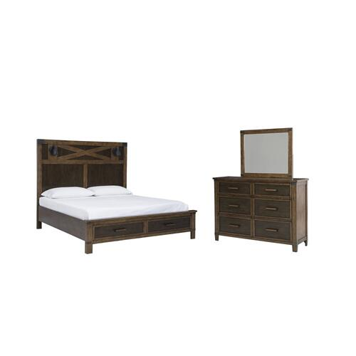 Queen Panel Bed With Storage With Mirrored Dresser