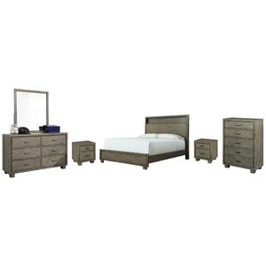 King Bookcase Bed With Mirrored Dresser, Chest and 2 Nightstands