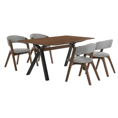 Laredo and Rowan 5 Piece Walnut Rectangular Dining Set