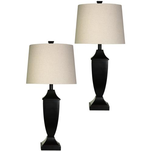 Pair of Classic Table Lamps with Bronze Wood Finish and Complementing Round Linen Shades