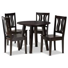 See Details - Baxton Studio Anesa Modern and Contemporary Transitional Dark Brown Finished Wood 5-Piece Dining Set