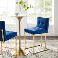 Privy Gold Stainless Steel Performance Velvet Counter Stool in Gold Navy
