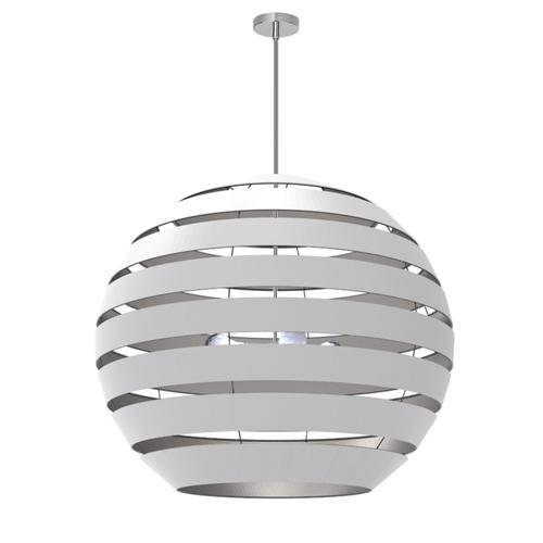 Product Image - 4lt Chandelier Pc, Wh/slv Shade