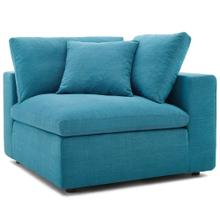 Commix Down Filled Overstuffed Corner Chair in Teal
