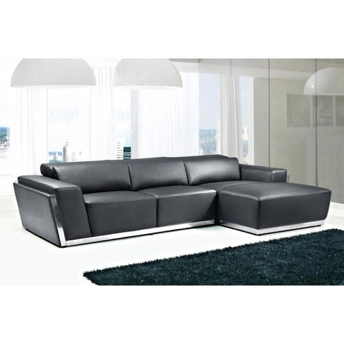 Divani Casa 8010C - Modern Black Bonded Leather Sectional Sofa