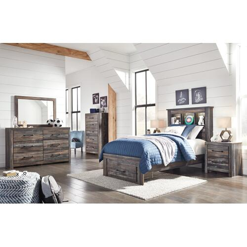 Drystan Twin Bookcase Bed With 1 Storage Drawer