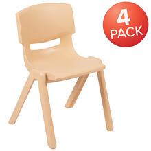 "4 Pack Natural Plastic Stackable School Chair with 13.25"" Seat Height [4-YU-YCX-004-NAT-GG]"